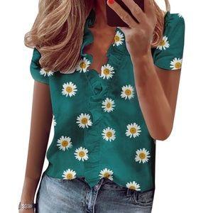 Tops - Green Daisy silky shirt